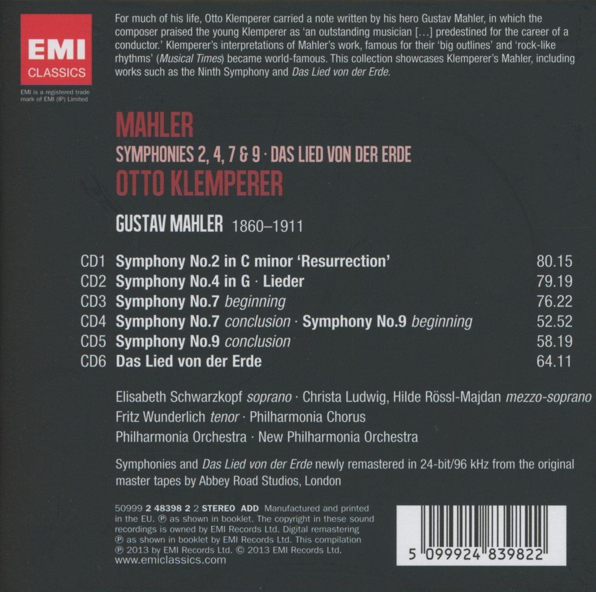 Mahler box-set, Symphonies 2, 4, 7 & 9 / Das Lied von der Erde