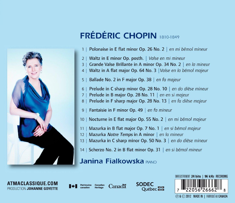Pianist Janina Fialkowska, Chopin Recital 2 on the Atma label