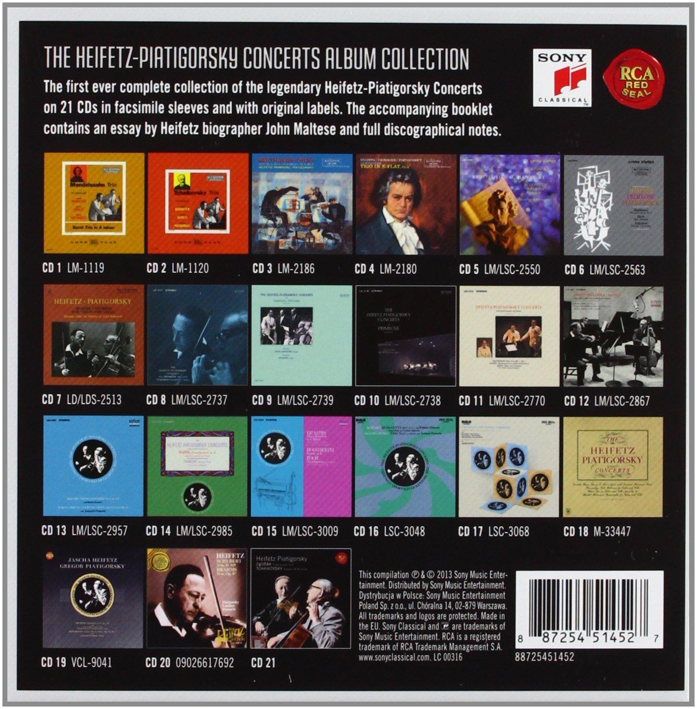 Heifetz & Piatigorsky RCA 21 CDs box-set, Concerts