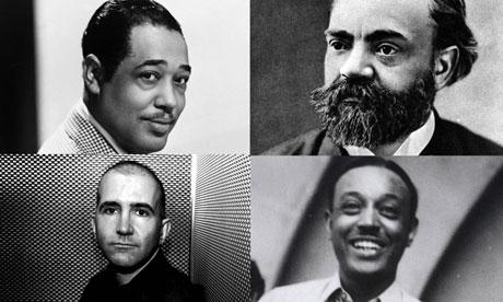 Images of Duke Ellington, Alex Ross, William Grant Still and Antonín Dvořák